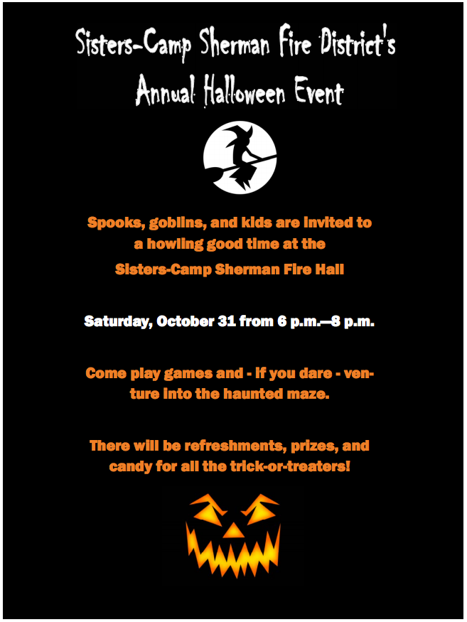 Halloween-Flyer_2015 | Sisters-Camp Sherman Fire District